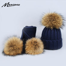 0de5cc8f129 New 2 Pieces Set Children Winter Hat Scarf for Girls Hat Real Raccoon Fur  Pom Pom Beanies Woman Cap Knitted Winter Hat Wholesale