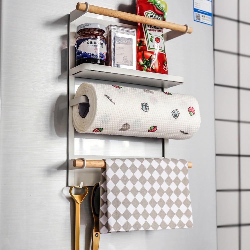 Magnetic refrigerator multifunction shelf free punching paper towel rack seasoning rack towel holder wall hanging hook wx7021346 refrigerator rack 4pcs suction cup hook shelf multifunction space organizer kitchen hook holder condiment bottles storage rack