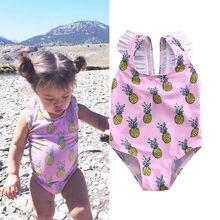 Summer Toddler Baby Girls Kid Swimsuit Pineapple Print Bow Tankini Bikini Set Kids Swimwear Beachwear Bathing Suits цена