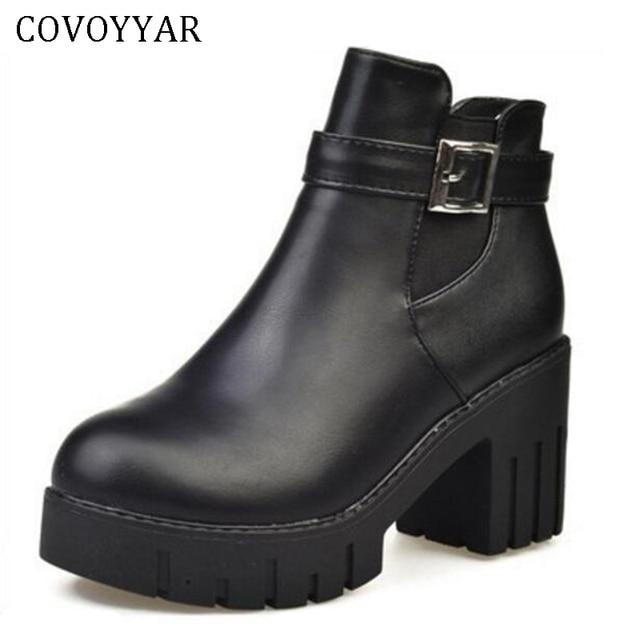 COVOYYAR 2019 Women Boots Vintage Platform Autumn Winter Block Heel Short Booties Slip on Sexy Buckle Shoes Woman WBS456