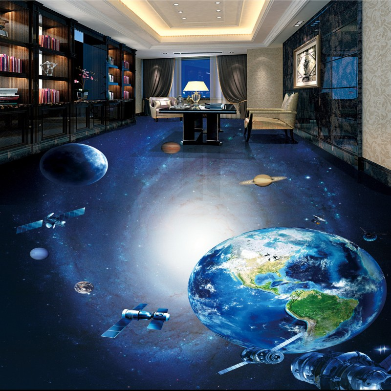 Free shipping custom galactic earth planet 3d stereo for Bathroom floor mural sky