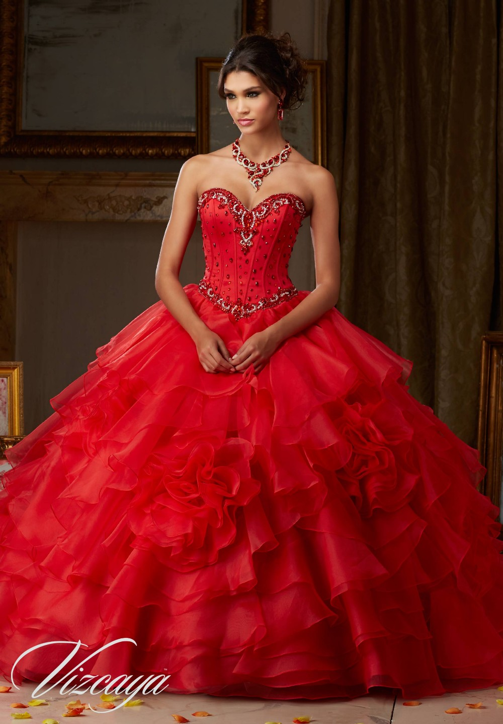 Luxury Sweetheart Ball Gown Organza Beaded Ruffles Red Princess Quinceanera Dresses 2016 Vestidos De Quince Anos Lace-Up 629