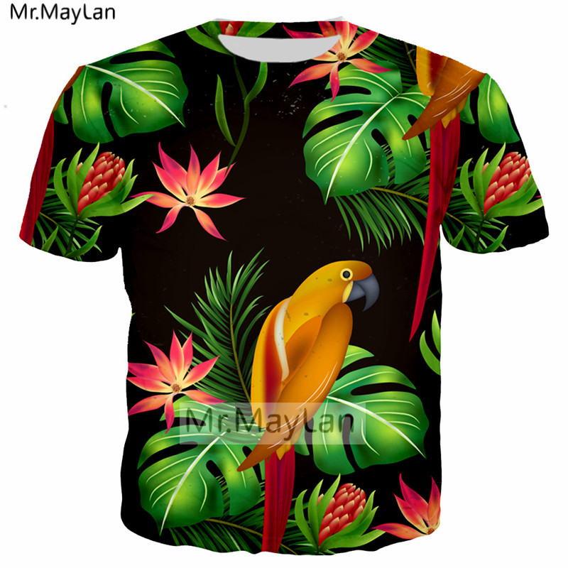 Palm Leaves Thrush Bird Flowers 3D Print Tshirt Women/men Hiphop Hipster T-shirt Boys Modis T shirt Man Black Clothes Harajuku