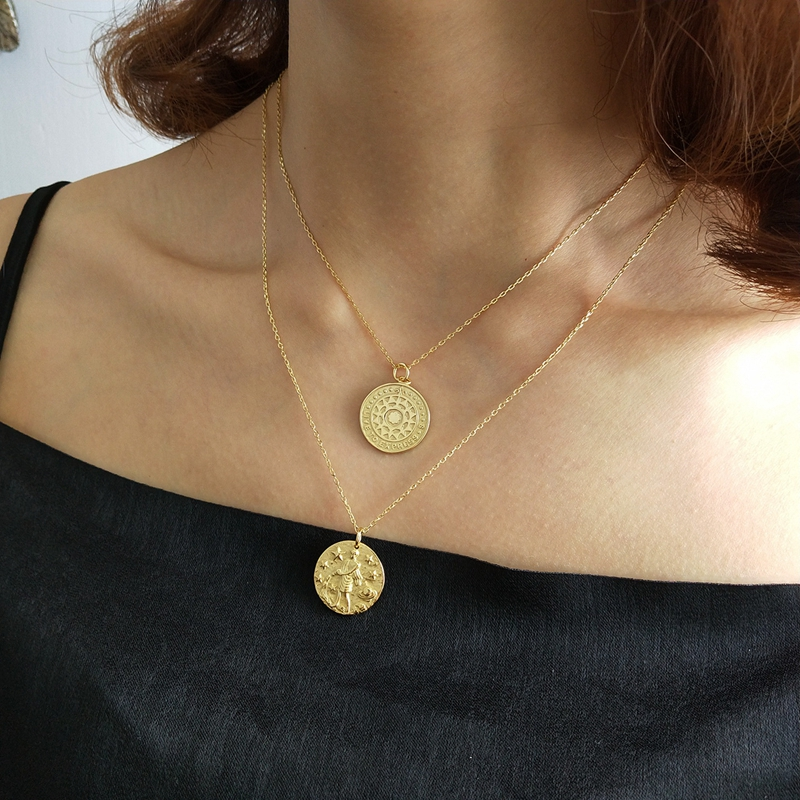Sterling 925 Silver Round Totem Necklace Gold Fashion Round Card Sun Totem Pendant Necklace For Women 2018 Totem Jewelry Charms