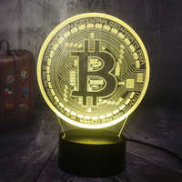 Novelty Game Bitcoin Night Light 3D LED USB RGB Table Desk Lamp Home Decor Christmas Gift Display Bulb Boy Toys Birthday Present