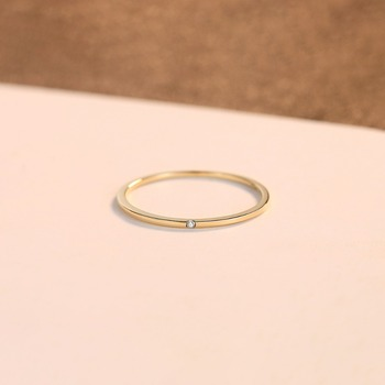 Yellow Gold Petite Black Cubic Zircon Ring 4
