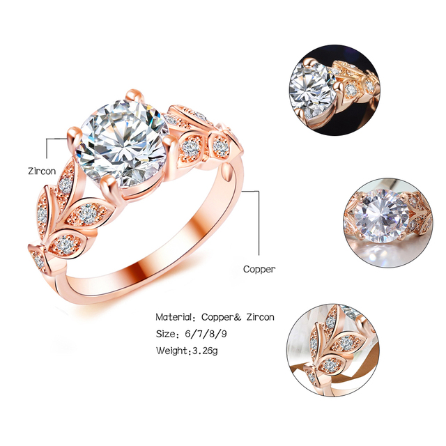 Crystal Silver Color Rings Leaf Engagement Gold Color Cubic Zircon Ring 5