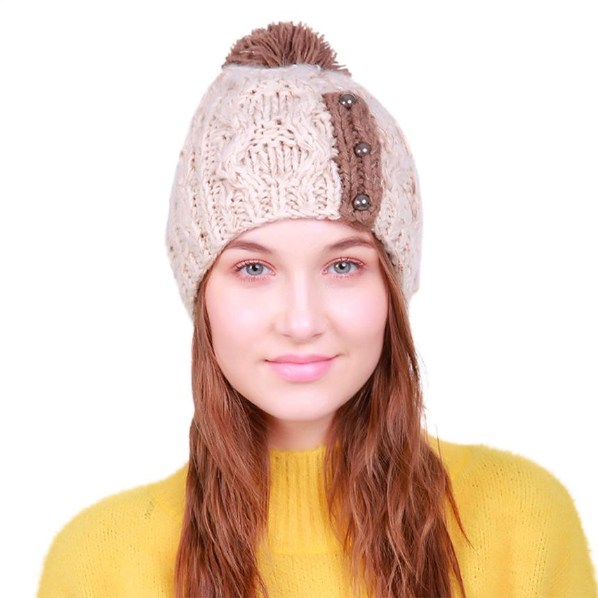 New Fashion Women Warm Caps Warm Crochet Winter Wool Knit Ski Beanie Skull Caps Hat Hairy Bulb pompoms Hollow breathable mesh