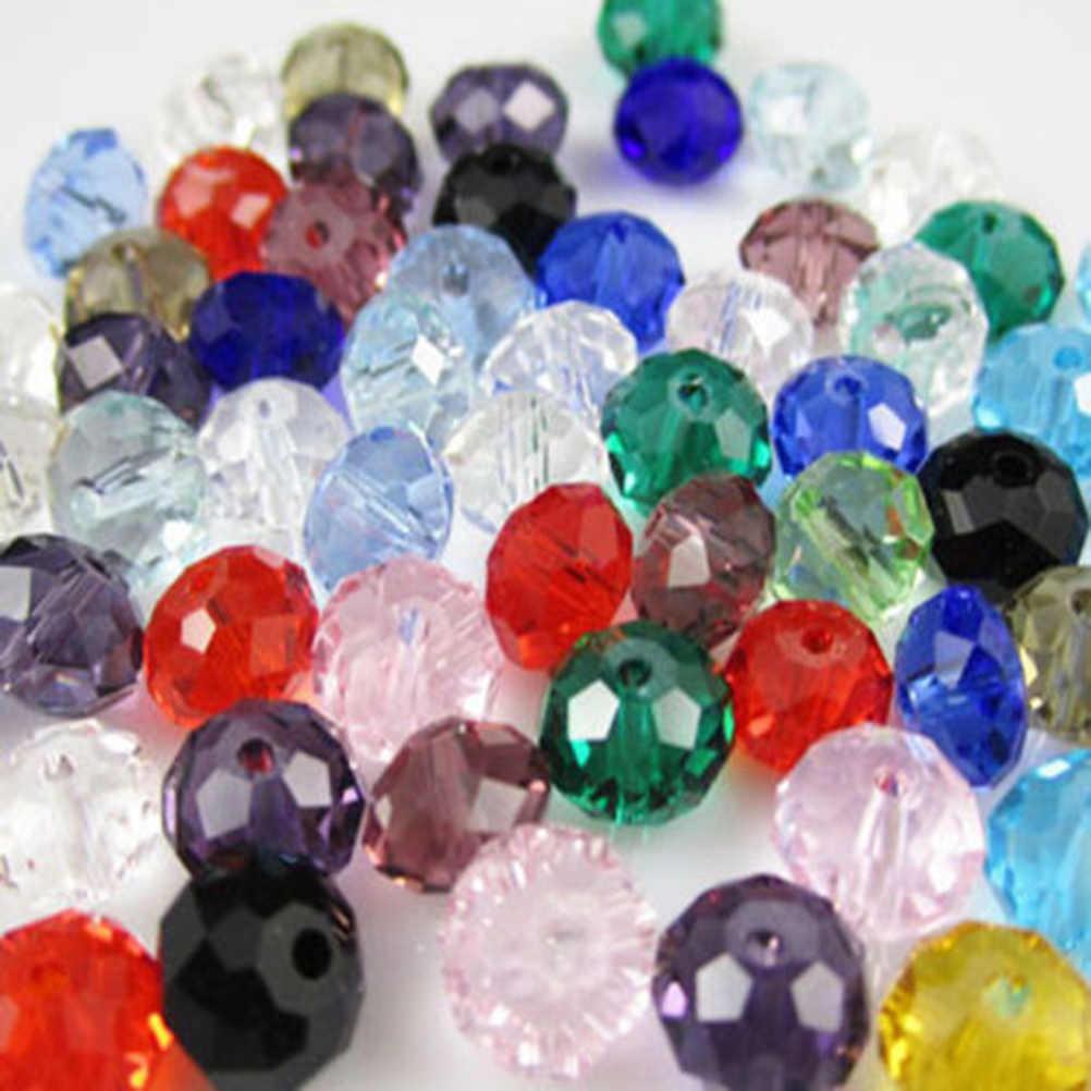 150 יחידות DIY חרוזים קרפט חרוזים קריסטל שקוף שטוח Rondelle פיאות זכוכית לתכשיטים שרשרת צמיד ביצוע