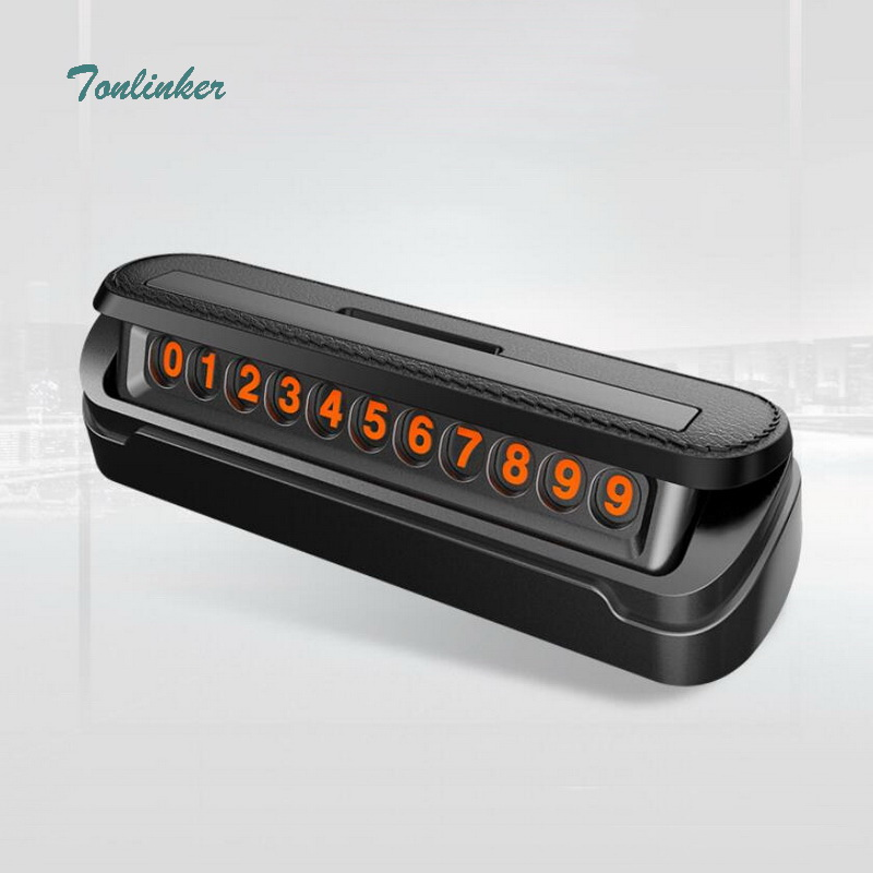 Tonlinker 2018 New Luminous Temporary Parking Card Light Reflect Phone Number Plate Stop Sign Telephone Number Notification Card