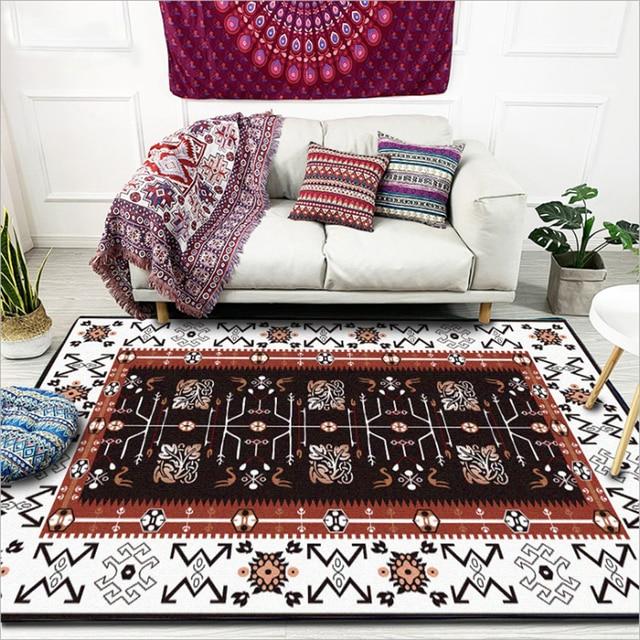 Tapis pour salon européen bleu rouge marron géométrique Floral tapis zone  chambre grand couloir