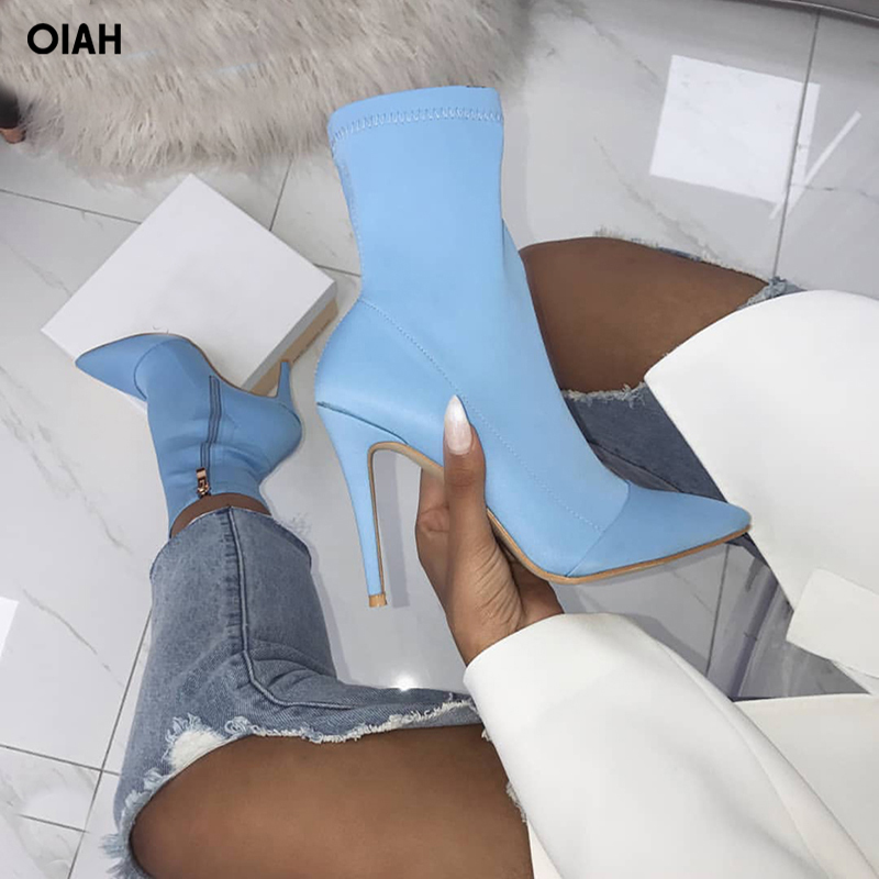 2018 New Women Lycra Pointed Toe Elastic High Boots Slip On High Heel Ankle Boots Women Pumps Stiletto Botas Size 36-41 alfani new black women s size small s mesh back high low ribbed blouse $59 259