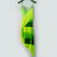 New style latin dance costume sexy spandex green tassel latin dance dress for women latin dance competition dresses S-4XL
