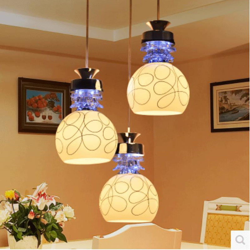 modern  Dining room pendant lights three creative personality dining pendant lamps and lanterns LED meal dining room FG434 lo101 a1 modern simple led crystal chandelier three head hanging lamps and lanterns lamps and lanterns artistic originality individual