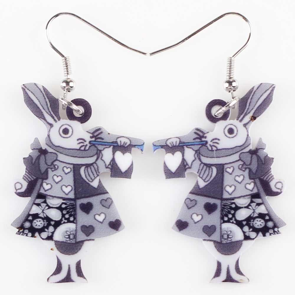 Bonsny Thả Vua Thỏ Bông Tai Tòn Ten Lớn Dài Acrylic Hoa Văn Bông Tai Trang Sức Thời Trang Cho Nữ 2015 Mới Đến Phụ Kiện