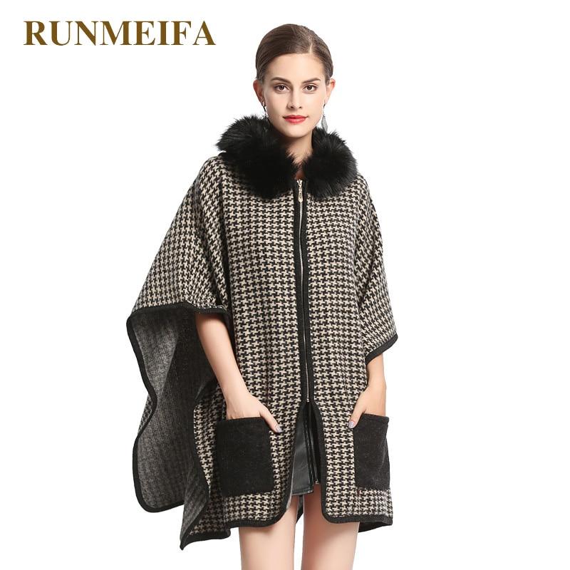 RUNMEIFA 2018 Women Fur Shawls Houndstooth Plaid Shawls Sweater Shawl Poncho Faux Fur Stoles Women Cashmere Stole Shawl Pashmina
