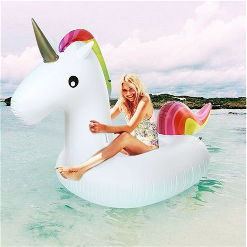 275cm Giant Unicorn Uppblåsbara Air Soffa Luftmadrasser Pro Flytande Rideable Float Raft Swimming Pool Toy För Holiday Beach Ring