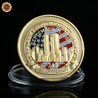 WR Festival Souvenir Gifts American Gold Coin 24k 999.9 Gold Plated Anniversary USA Army Metal Coins with Plastic Case