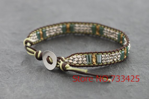 Silver Square Cut Beaded Bracelet bangles polyester waxed cord weaved faceted silver plated beads and square cut stone