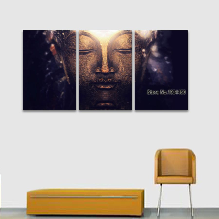 3 Panel Modern Canvas Art Buddha Meditation Painting Artistic ...