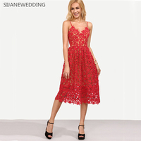 SIJANE 2018 Sexy Red Lace Party Skater Dress Women Hollow Out Nude Illusion Dresses Ladies Sleeveless Midi Beach Dress 0075
