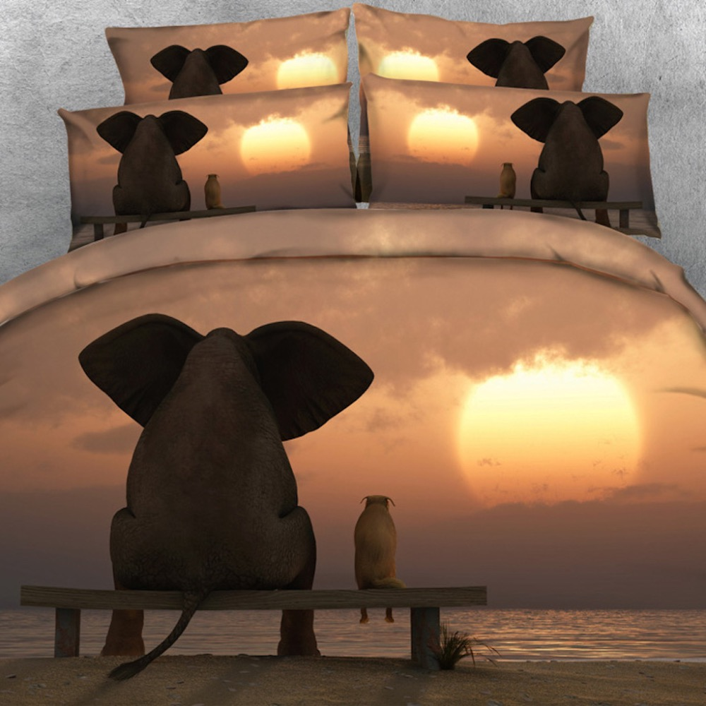 Goldeny Brand 3 Parts Per Set Cute Elephant and Dog friends watching Sunset 3d bed set Girls bed sheet boys Bed Linens