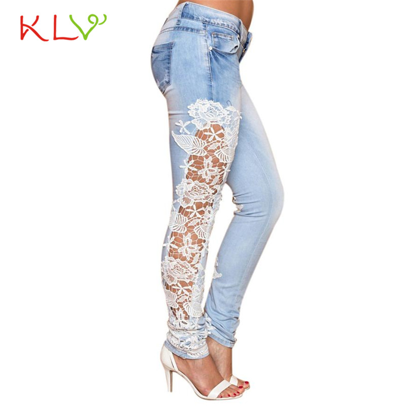 2017KLV sexy pantalones newly stylish Long Lace Floral Skinny Spliced Hollow out Hole Straight Denim Jeans
