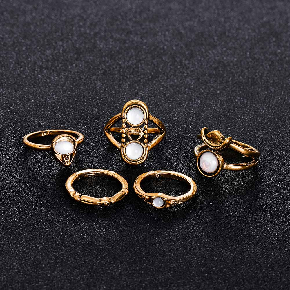 Famshin new 5pcs sets fashion vintage punk midi rings Vintage style fashion rings