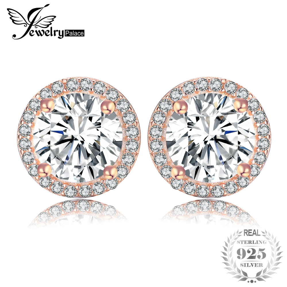 Jewelrypalace 925 Sterling Silver Earrings Stud Earrings Lavish Glow Rose Gold Color Round Cubic Zirconia Wedding Jewelry NewJewelrypalace 925 Sterling Silver Earrings Stud Earrings Lavish Glow Rose Gold Color Round Cubic Zirconia Wedding Jewelry New