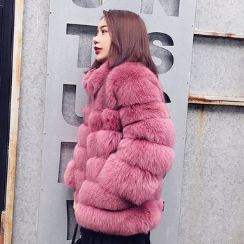 Vintage fluffy faux fur coat women stand collar furry fake fur winter outerwear pink coat 2018 Winter casual party overcoat