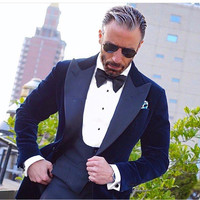 Custom Made Men Suits For Wedding Prom Three Pieces (Jacket+Pants+Vest) Slim Fit Men Suit Best Man Groom Tuxedos Regular Style