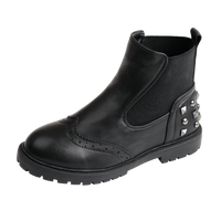 Girls Martin Boots With Rivets Black Leather Boots For Autumn Winter Fur Lined Princess Red Boots