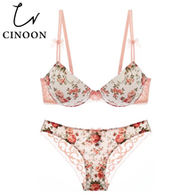 CINOON Sexy lingerie Push Up Underwear Flower Bow Women Print Bra set Silk Lace brassier and comfortable panties Black intimates