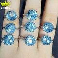 Женщина Топаз Камень кольцо Настоящее кольцо стерлингового серебра 925 природных драгоценных камней Фейерверк огранки ювелирных изделий