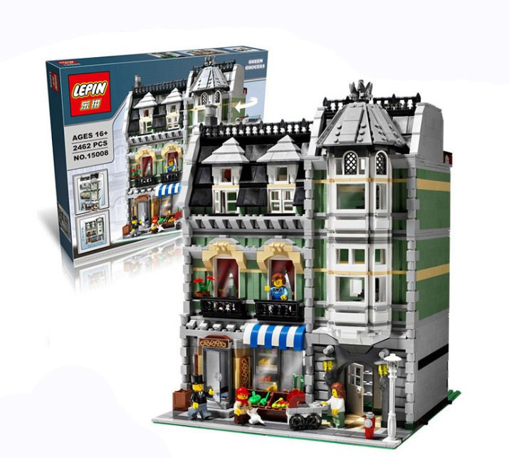 Lepin 15008 2462Pcs the legoing City Street Green Grocer Model Building Kits Blocks Bricks Compatible Educational toys 10185 lepin 15008 new city street green grocer model building blocks bricks toy for child boy gift compatitive funny kit 10185 2462pcs