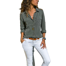 Casual solid color long sleeve lapel single breasted pocket higher size loose women's shirt free shipping недорго, оригинальная цена