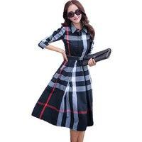 New Office Autumn Plaid Print Dress Bandage Slim Elegant Cotton A Line Knee Length Vestidos Women