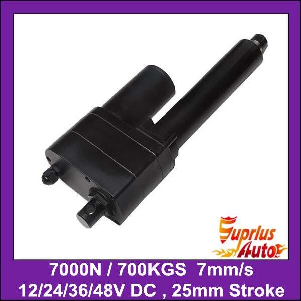 Высокий крутящий момент Max 7000N = 700 кг = 1540lbs, 1 = 25 мм ход 7 мм/сек. полной нагрузке скорость 12 В электрический линейный привод