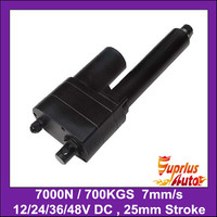 High torque max 7000N=700KG=1540LBS, 1=25mm stroke 7mm/s full load speed 12v electric linear actuator