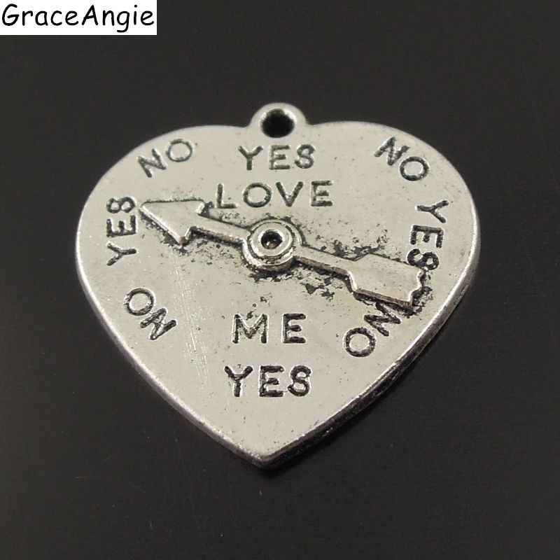 28PCS/Pack Love Heart Clock Pendant Charms New Antique Silver Zinc Alloy Dial Pendant Charms Fashion Jewelry Hot 22*21*2mm 38330