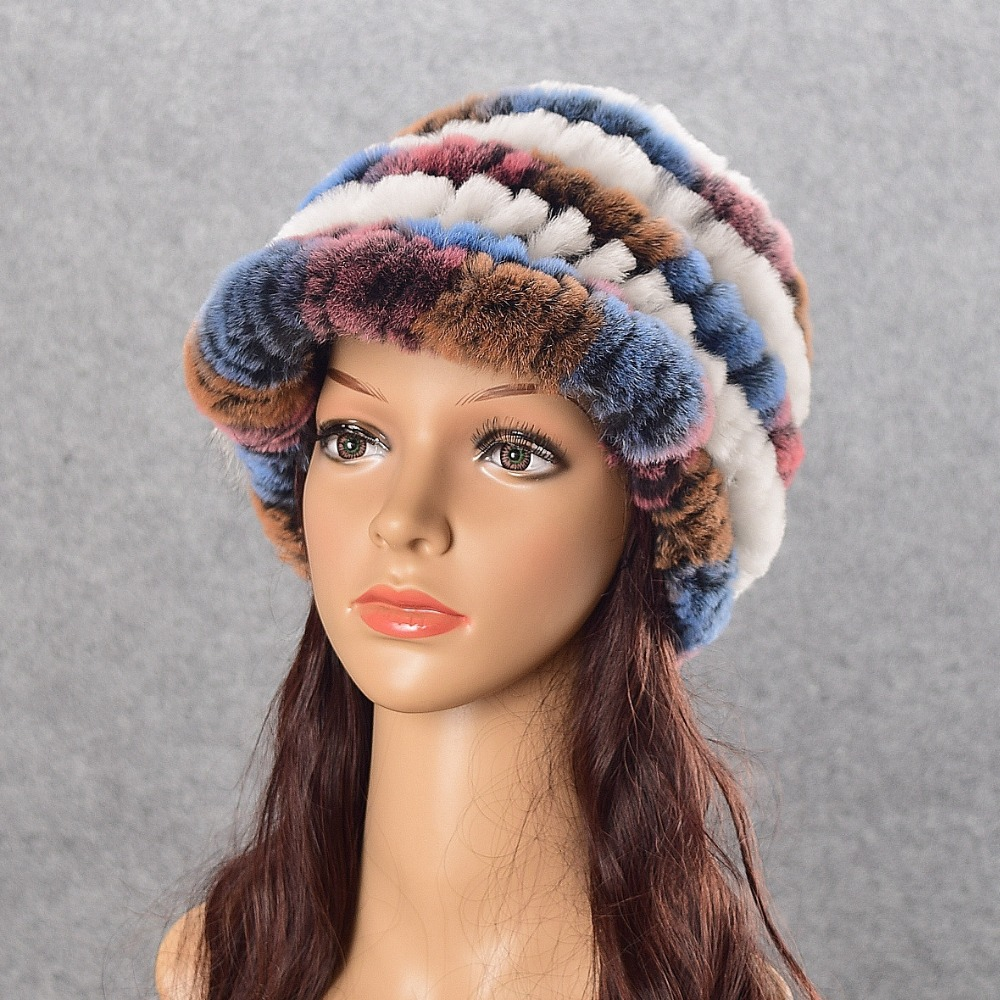 Winter fur hat for women real rex rabbit fur hat with Flora fur pom poms fur knitted beanies 2017 new fashion good quality caps