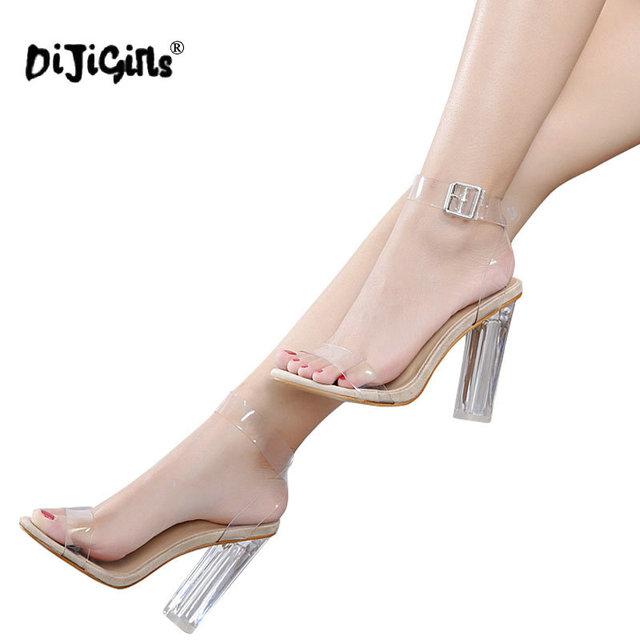 d49e3709075 DIJIGIRLS Large Size Women Sandals Ankle Strap Perspex High Heels PVC Clear  Crystal With High 12.5CM Shoes Apricot