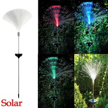 Solar Power Color Change Fibre Optic Garden Outdoor Yard Path LED Light Lamp New Romantic Holiday Lanterna