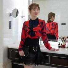 Shirt Women 100% Silk Spring Summer 2019 New Printed Ruffles Long Sleeved Single Breasted OL Commuter Female S-XL