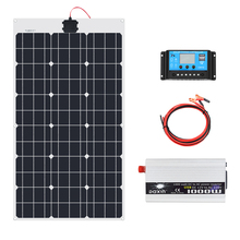 цена на 70W 18V Solar Panel 1000W Inverter 220V or 110V PWM 10A Charge Controller Battery Charger Panel solar Kit system Home outdoor