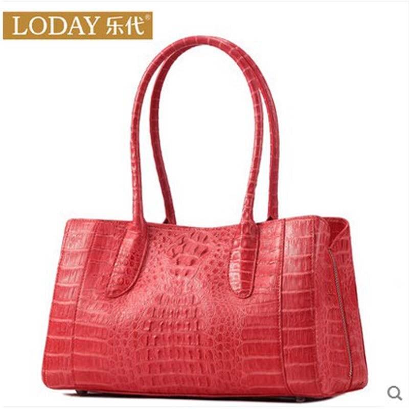 ledai new Luxury high-end alligator skin 2019 style crocodile leather women handbag with large size woman bag