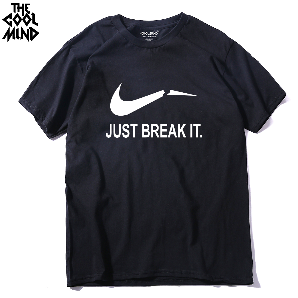 COOLMIND JU0111A 100% Cotton just break it printed men   t     shirt   casua cooll short sleeve men   t  -  shirt   o-neck men's tee   shirts   tops