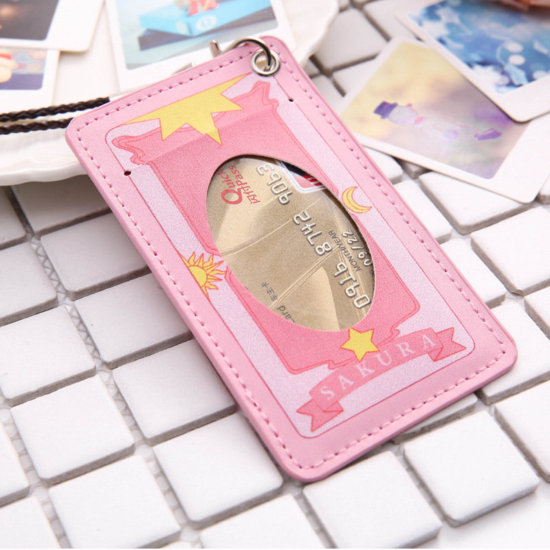 Cute Cartoon PU Leather Card Holder Women Fashion Hanging Bus Card Cover Girl Portable Credit Card Holder And Bank Card Covers non woven fabrics hanging type 18 cd dvd card holder beige