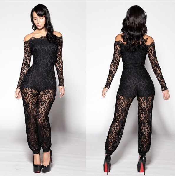 Hot Sale Summer Sexy Women Black Lace Strapless Long Sleeve Playsuit Jumpsuit Off Shoulder Club Overall W910002