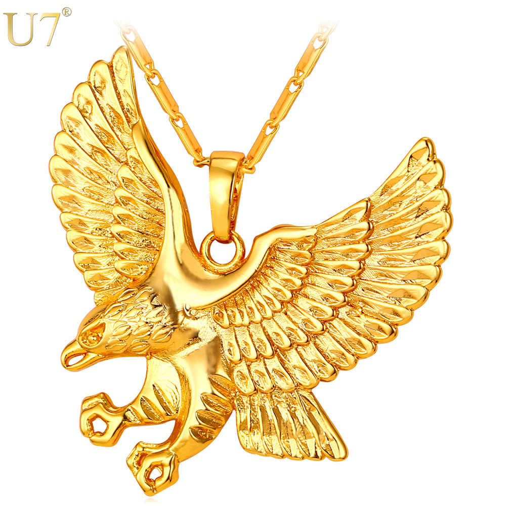 U7 Eagle Necklace Men Jewelry Trendy Gold Color Wholesale Animal Hawk Wing Charm Pendant Necklace  P820